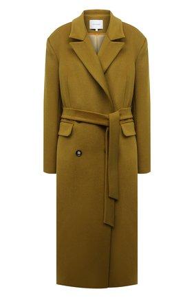 Женское пальто из шерсти и вискозы LESYANEBO оливкового цвета, арт. FW20/H-405-5 | Фото 1 (Длина (верхняя одежда): Длинные; Рукава: Длинные; Материал внешний: Шерсть; Материал подклада: Вискоза; 1-2-бортные: Двубортные; Стили: Кэжуэл)