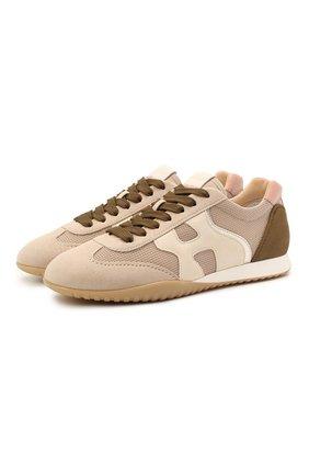 Женские комбинированные кроссовки HOGAN светло-коричневого цвета, арт. HXW5650D000PU7 | Фото 1