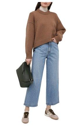 Женские комбинированные кроссовки HOGAN светло-коричневого цвета, арт. HXW5650D000PU7 | Фото 2