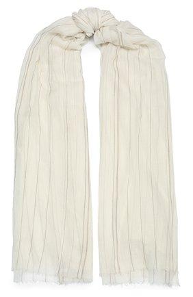 Женский кашемировый шарф BRUNELLO CUCINELLI белого цвета, арт. MSCDAGW42 | Фото 1