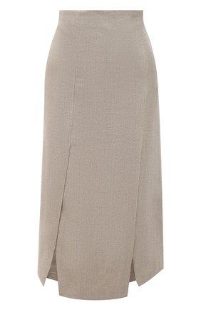 Женская льняная юбка BRUNELLO CUCINELLI золотого цвета, арт. MH169G3080 | Фото 1