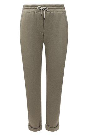 Женские брюки из хлопка и шелка BRUNELLO CUCINELLI зеленого цвета, арт. MD828SB899 | Фото 1