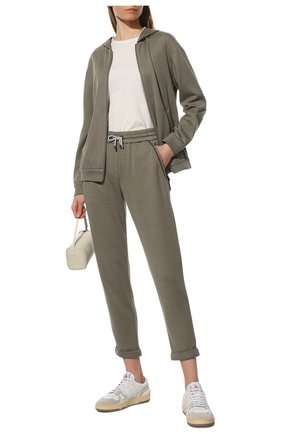 Женские брюки из хлопка и шелка BRUNELLO CUCINELLI зеленого цвета, арт. MD828SB899 | Фото 2
