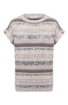 Женский хлопковый пуловер BRUNELLO CUCINELLI светло-серого цвета, арт. MAG371218 | Фото 1