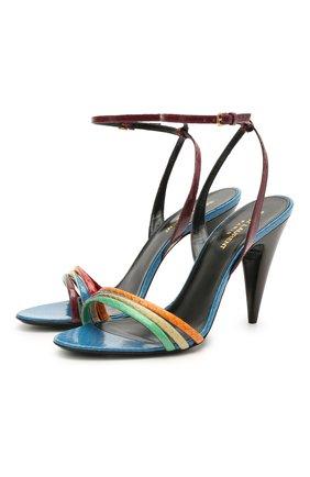 Женские кожаные босоножки liya SAINT LAURENT разноцветного цвета, арт. 650725/L3K10 | Фото 1 (Каблук высота: Высокий; Подошва: Плоская; Материал внутренний: Натуральная кожа; Каблук тип: Шпилька)