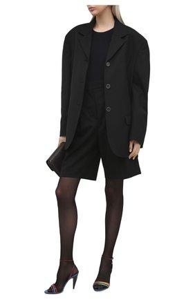 Женские кожаные босоножки liya SAINT LAURENT разноцветного цвета, арт. 650725/L3K10 | Фото 2 (Каблук высота: Высокий; Подошва: Плоская; Материал внутренний: Натуральная кожа; Каблук тип: Шпилька)