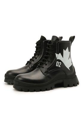Женские кожаные ботинки DSQUARED2 черного цвета, арт. ABW0128 01503900 | Фото 1