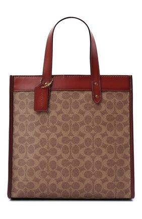 Женский сумка-тоут field medium COACH коричневого цвета, арт. C0776   Фото 1