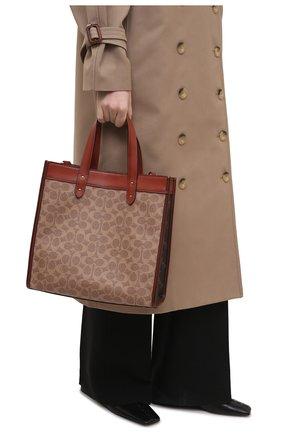 Женский сумка-тоут field medium COACH коричневого цвета, арт. C0776   Фото 2