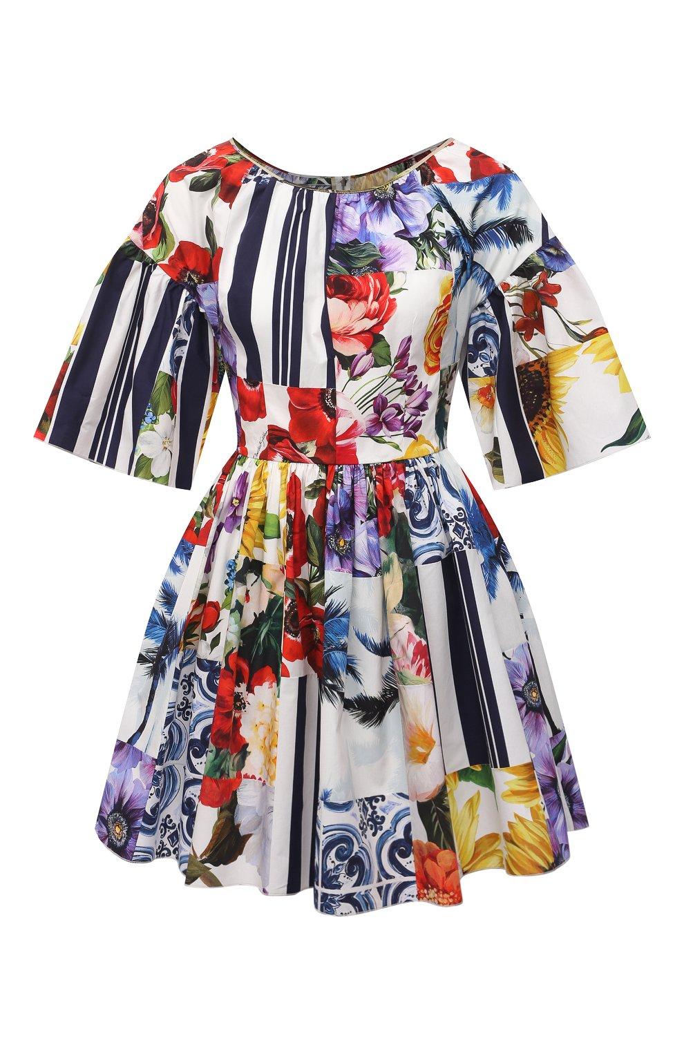 Женское хлопковое платье DOLCE & GABBANA разноцветного цвета, арт. F6L0LT/GDY03 | Фото 1