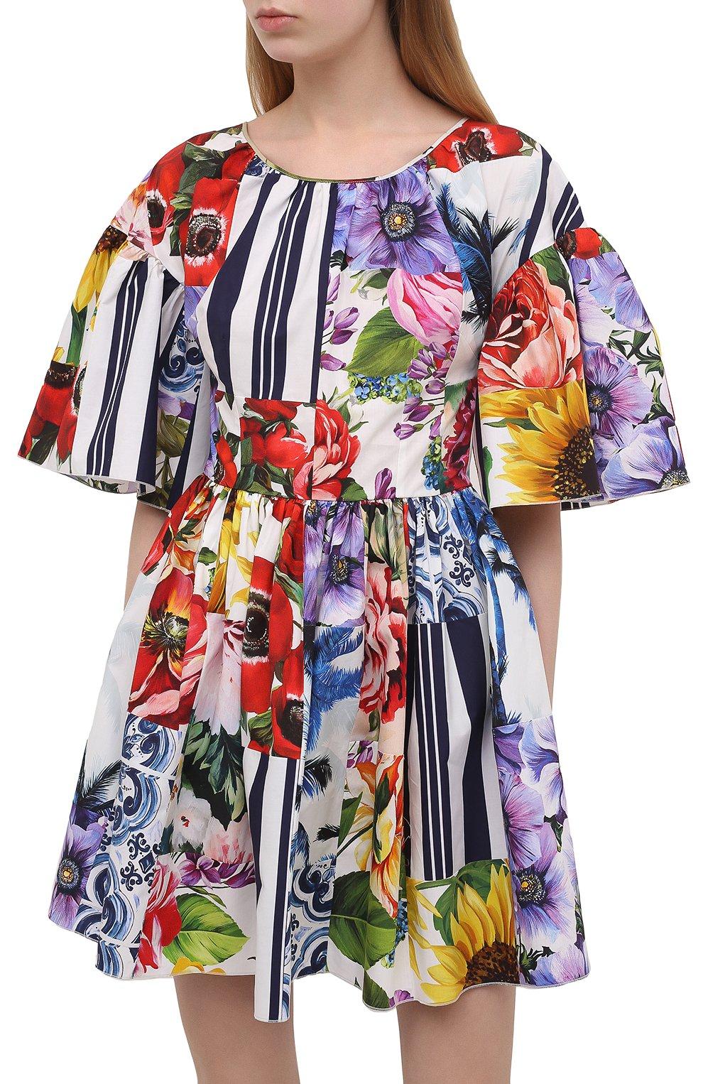 Женское хлопковое платье DOLCE & GABBANA разноцветного цвета, арт. F6L0LT/GDY03 | Фото 3