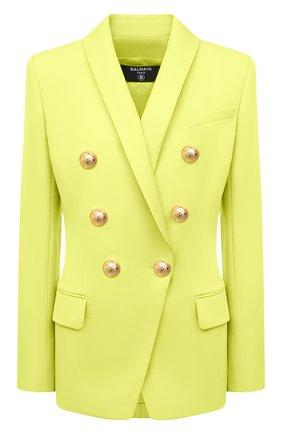 Женский шерстяной жакет BALMAIN зеленого цвета, арт. VF0SH020/167L | Фото 1