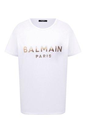 Женская хлопковая футболка BALMAIN белого цвета, арт. VF0EF000/B020   Фото 1 (Рукава: Короткие; Длина (для топов): Стандартные; Материал внешний: Хлопок; Женское Кросс-КТ: Футболка-одежда; Принт: С принтом; Стили: Гламурный)