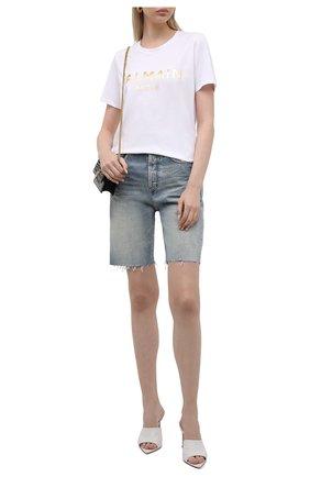 Женская хлопковая футболка BALMAIN белого цвета, арт. VF0EF000/B020   Фото 2 (Рукава: Короткие; Длина (для топов): Стандартные; Материал внешний: Хлопок; Женское Кросс-КТ: Футболка-одежда; Принт: С принтом; Стили: Гламурный)