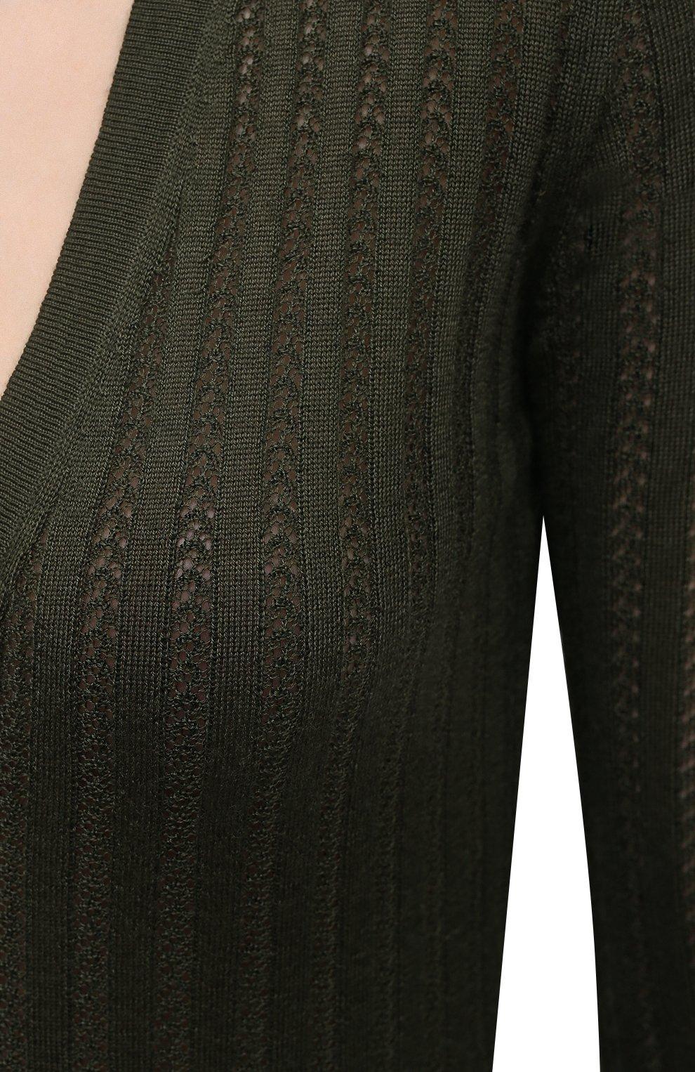 Женский кардиган из кашемира и шелка GABRIELA HEARST хаки цвета, арт. 321904 A003D | Фото 5 (Материал внешний: Шерсть, Шелк, Кашемир; Рукава: Длинные; Длина (для топов): Стандартные; Женское Кросс-КТ: кардиган-трикотаж; Стили: Кэжуэл)