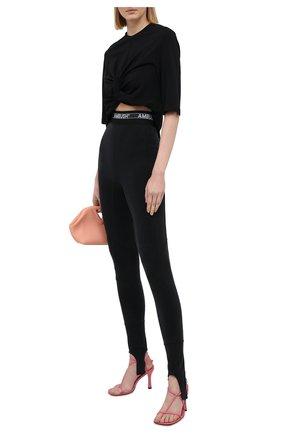 Женские леггинсы со штрипками AMBUSH черного цвета, арт. BWCD001S21JER001   Фото 2
