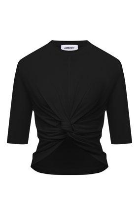 Женская хлопковая футболка AMBUSH черного цвета, арт. BWAA007S21JER001 | Фото 1