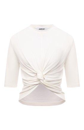 Женская хлопковая футболка AMBUSH белого цвета, арт. BWAA007S21JER001 | Фото 1