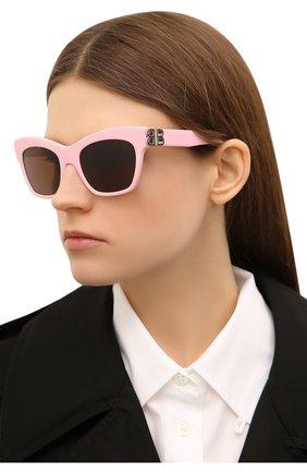 Женские солнцезащитные очки BALENCIAGA розового цвета, арт. 648053/T0001 | Фото 2
