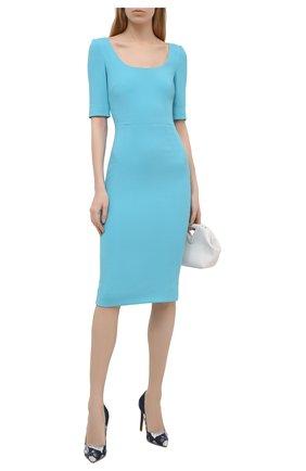 Женское платье DOLCE & GABBANA голубого цвета, арт. F6P0ZT/FURDV | Фото 2