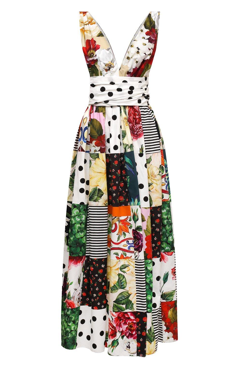 Женское хлопковое платье DOLCE & GABBANA разноцветного цвета, арт. F6K8PT/GDX82   Фото 1