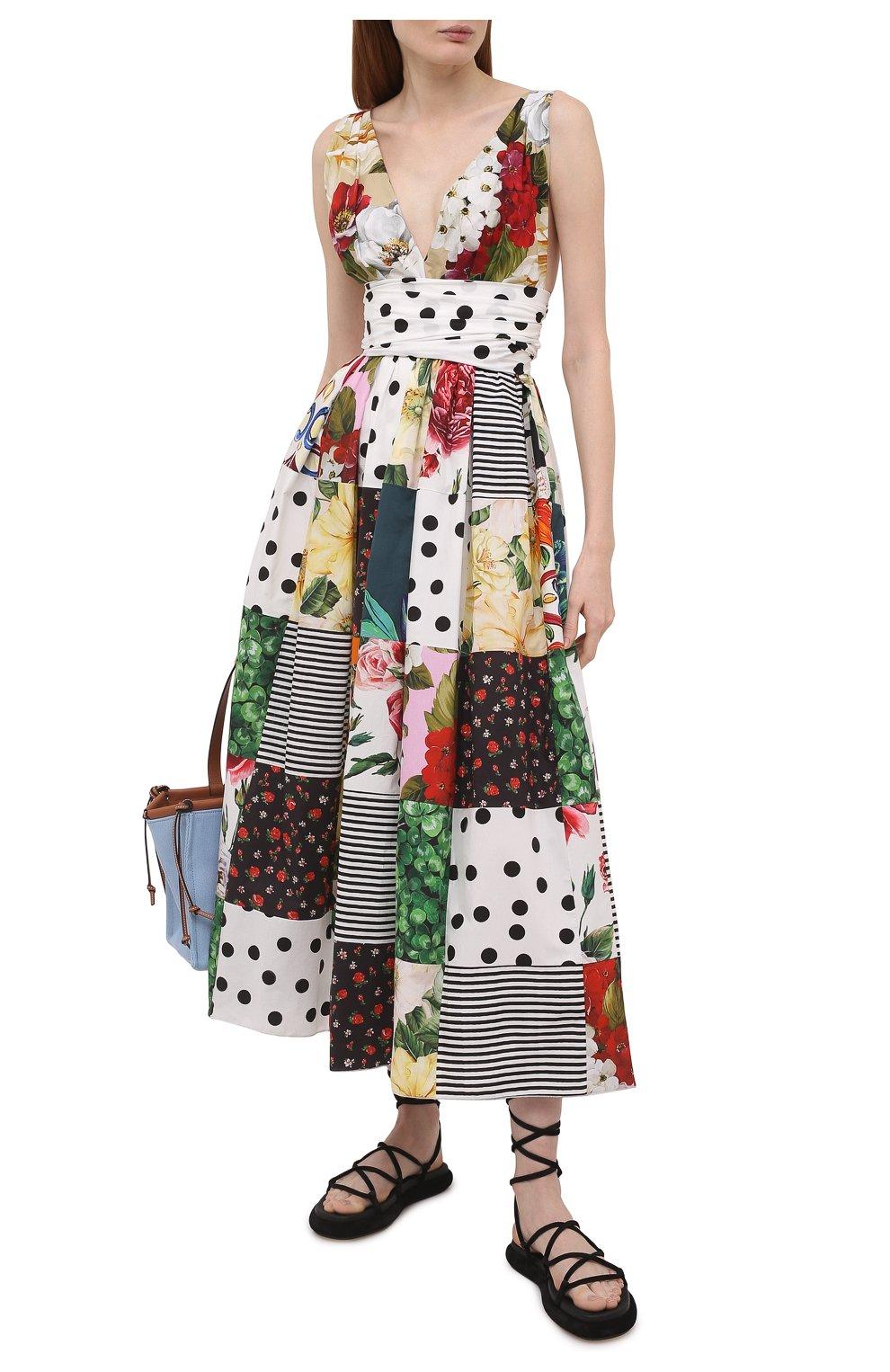 Женское хлопковое платье DOLCE & GABBANA разноцветного цвета, арт. F6K8PT/GDX82   Фото 2