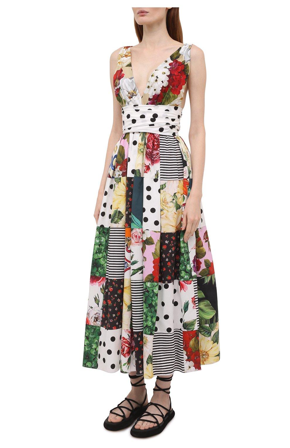 Женское хлопковое платье DOLCE & GABBANA разноцветного цвета, арт. F6K8PT/GDX82   Фото 3