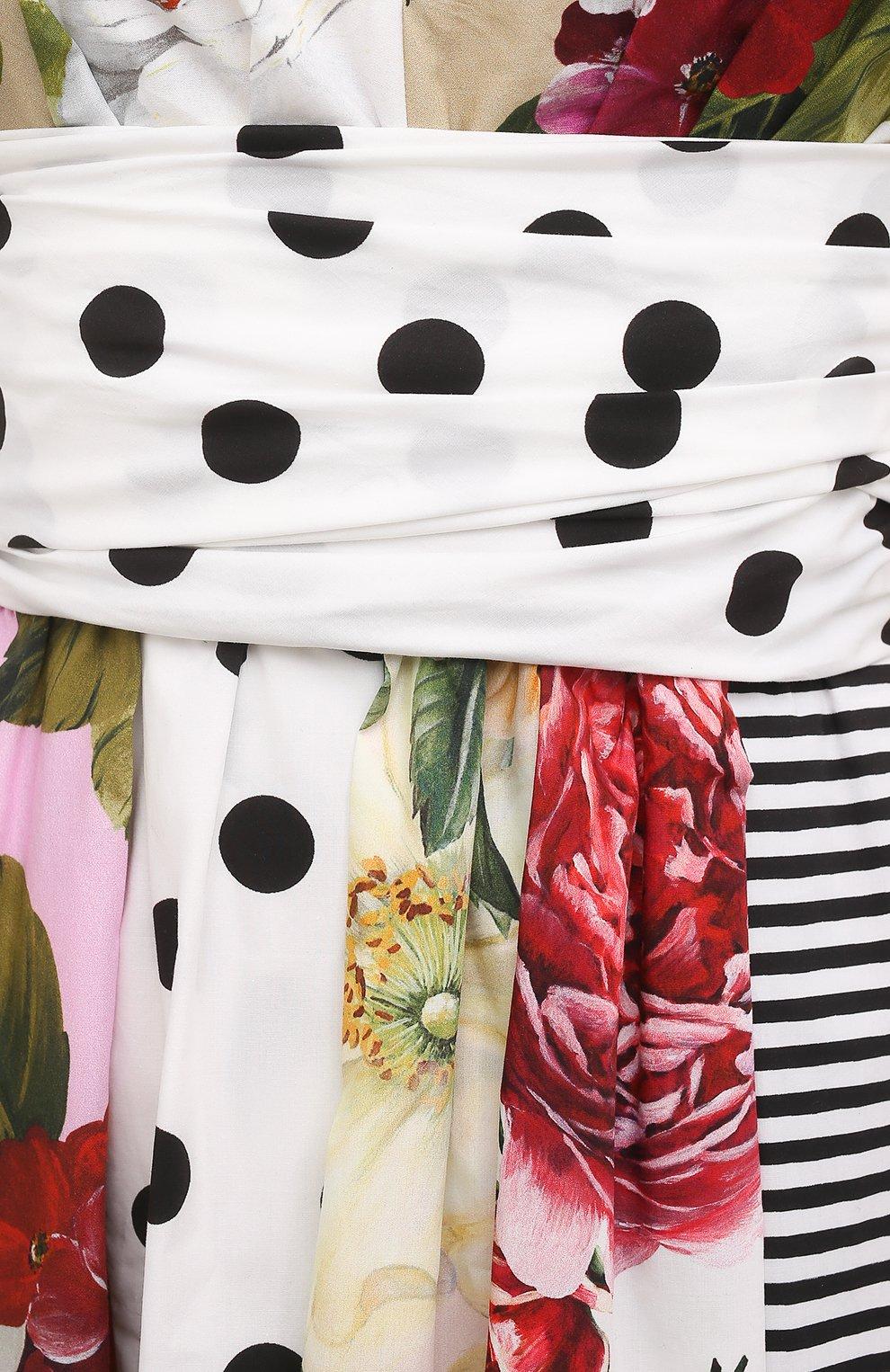 Женское хлопковое платье DOLCE & GABBANA разноцветного цвета, арт. F6K8PT/GDX82   Фото 5