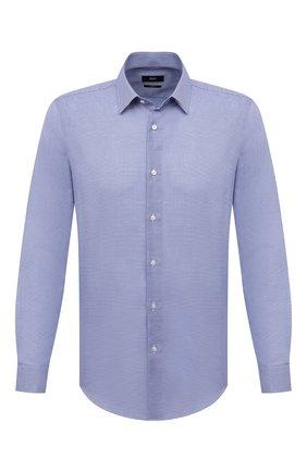 Мужская хлопковая сорочка BOSS синего цвета, арт. 50429034 | Фото 1 (Рукава: Длинные; Материал внешний: Хлопок; Длина (для топов): Стандартные; Случай: Формальный; Принт: Клетка; Воротник: Кент; Стили: Классический; Рубашки М: Slim Fit; Манжеты: На пуговицах)