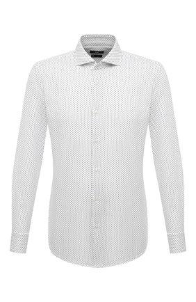 Мужская хлопковая рубашка BOSS белого цвета, арт. 50451330 | Фото 1 (Длина (для топов): Стандартные; Материал внешний: Хлопок; Рукава: Длинные; Случай: Формальный; Принт: С принтом; Воротник: Акула; Стили: Классический; Рубашки М: Slim Fit; Манжеты: На пуговицах)