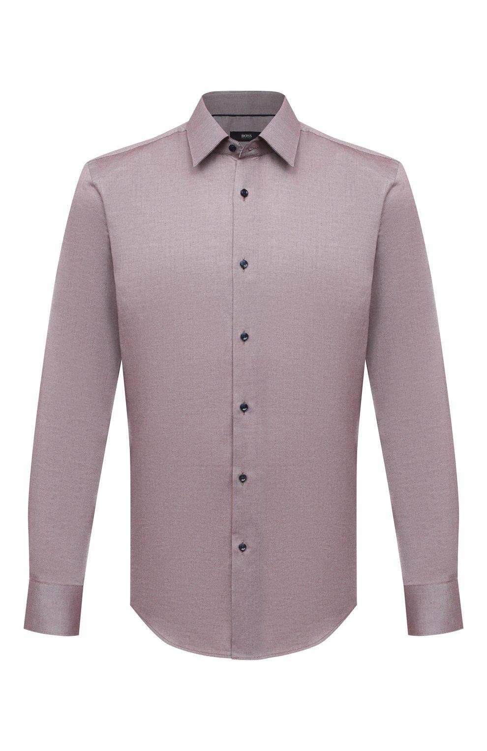 Мужская хлопковая сорочка BOSS коричневого цвета, арт. 50450883   Фото 1