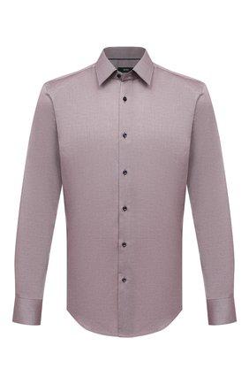 Мужская хлопковая сорочка BOSS коричневого цвета, арт. 50450883 | Фото 1