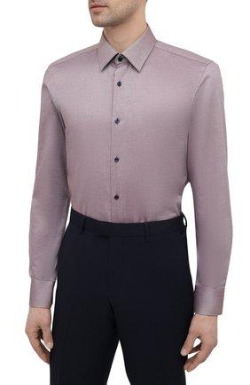 Мужская хлопковая сорочка BOSS коричневого цвета, арт. 50450883   Фото 3
