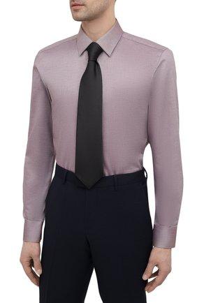 Мужская хлопковая сорочка BOSS коричневого цвета, арт. 50450883   Фото 4