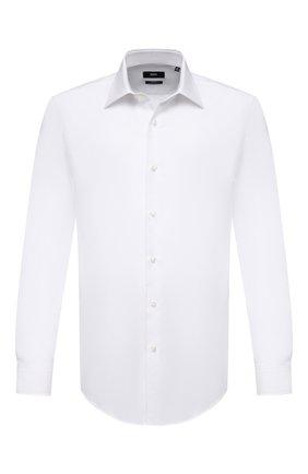 Мужская хлопковая сорочка BOSS белого цвета, арт. 50451322 | Фото 1 (Рукава: Длинные; Материал внешний: Хлопок; Длина (для топов): Стандартные; Случай: Формальный; Принт: Однотонные; Воротник: Кент; Стили: Классический; Рубашки М: Slim Fit; Манжеты: На пуговицах)