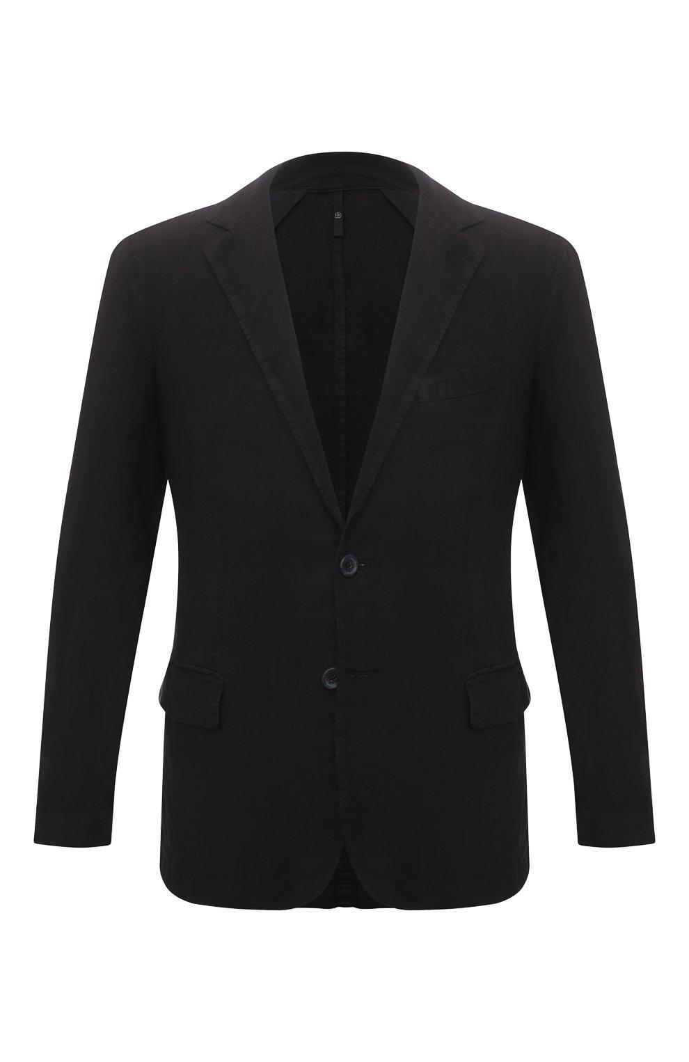 Мужской льняной пиджак 120% LINO черного цвета, арт. T0M8469/0253/000   Фото 1 (Рукава: Длинные; Случай: Повседневный; Длина (для топов): Стандартные; 1-2-бортные: Однобортные; Материал внешний: Лен; Пиджаки М: Приталенный; Материал подклада: Купро; Стили: Кэжуэл)