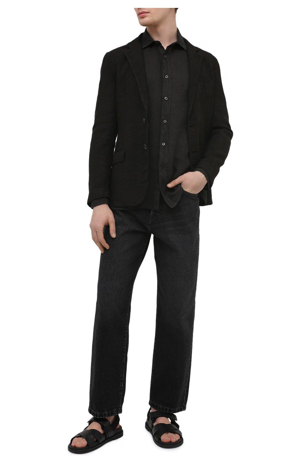 Мужской льняной пиджак 120% LINO черного цвета, арт. T0M8469/0253/000   Фото 2 (Рукава: Длинные; Случай: Повседневный; Длина (для топов): Стандартные; 1-2-бортные: Однобортные; Материал внешний: Лен; Пиджаки М: Приталенный; Материал подклада: Купро; Стили: Кэжуэл)
