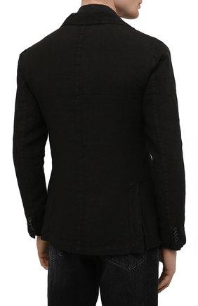 Мужской льняной пиджак 120% LINO черного цвета, арт. T0M8469/0253/000   Фото 4 (Рукава: Длинные; Случай: Повседневный; Длина (для топов): Стандартные; 1-2-бортные: Однобортные; Материал внешний: Лен; Пиджаки М: Приталенный; Материал подклада: Купро; Стили: Кэжуэл)