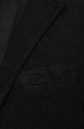 Мужской льняной пиджак 120% LINO черного цвета, арт. T0M8469/0253/000   Фото 5 (Рукава: Длинные; Случай: Повседневный; Длина (для топов): Стандартные; 1-2-бортные: Однобортные; Материал внешний: Лен; Пиджаки М: Приталенный; Материал подклада: Купро; Стили: Кэжуэл)