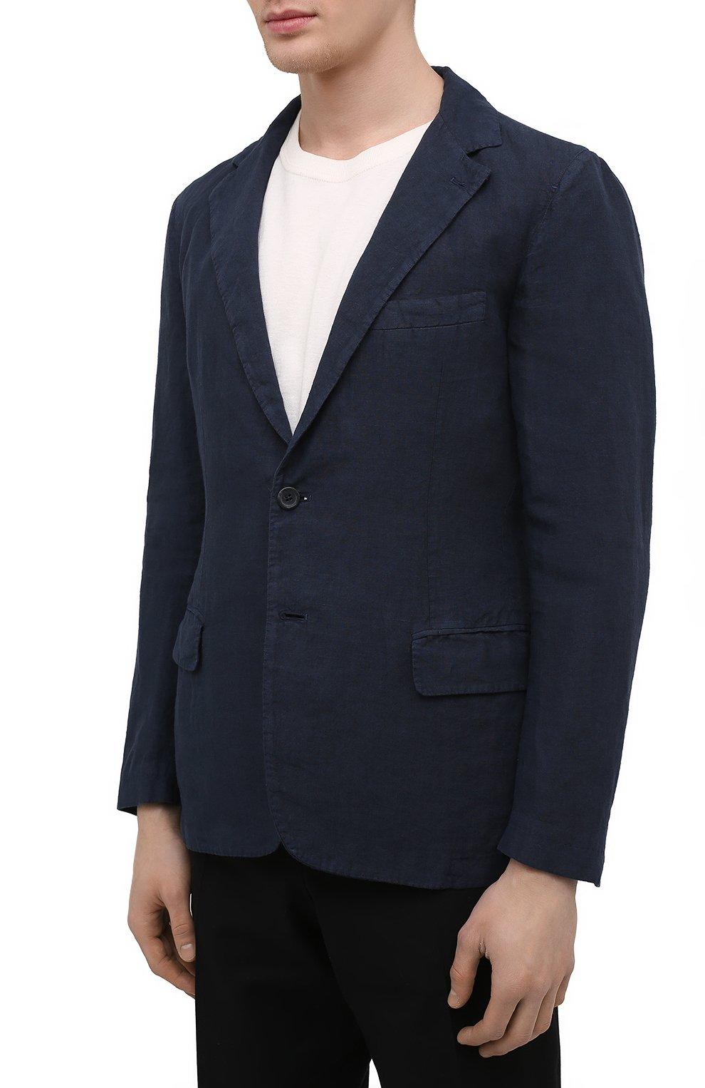 Мужской льняной пиджак 120% LINO темно-синего цвета, арт. T0M8469/0253/000 | Фото 3 (Рукава: Длинные; Случай: Повседневный; Длина (для топов): Стандартные; 1-2-бортные: Однобортные; Материал внешний: Лен; Пиджаки М: Приталенный; Материал подклада: Купро; Стили: Кэжуэл)