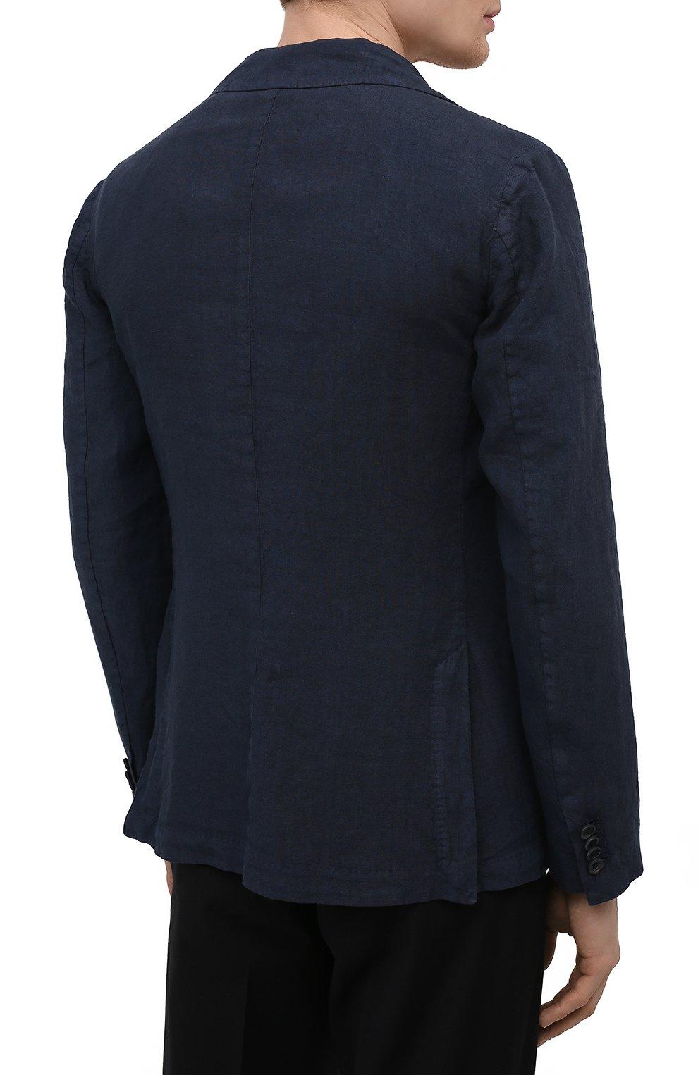 Мужской льняной пиджак 120% LINO темно-синего цвета, арт. T0M8469/0253/000 | Фото 4 (Рукава: Длинные; Случай: Повседневный; Длина (для топов): Стандартные; 1-2-бортные: Однобортные; Материал внешний: Лен; Пиджаки М: Приталенный; Материал подклада: Купро; Стили: Кэжуэл)