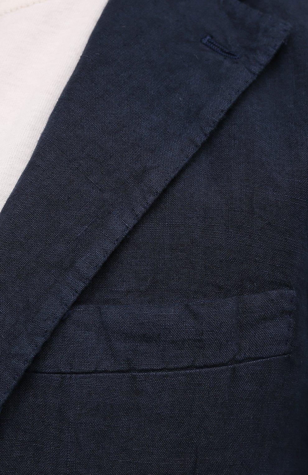 Мужской льняной пиджак 120% LINO темно-синего цвета, арт. T0M8469/0253/000 | Фото 5 (Рукава: Длинные; Случай: Повседневный; Длина (для топов): Стандартные; 1-2-бортные: Однобортные; Материал внешний: Лен; Пиджаки М: Приталенный; Материал подклада: Купро; Стили: Кэжуэл)