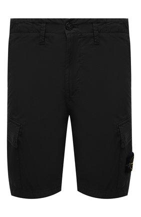 Мужские хлопковые шорты STONE ISLAND черного цвета, арт. 7415L0803 | Фото 1