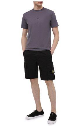 Мужские хлопковые шорты STONE ISLAND черного цвета, арт. 7415L0803 | Фото 2