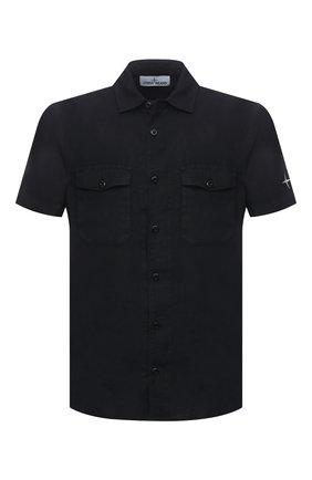 Мужская льняная рубашка STONE ISLAND темно-синего цвета, арт. 741512701 | Фото 1