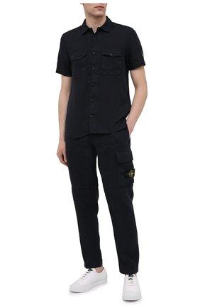 Мужская льняная рубашка STONE ISLAND темно-синего цвета, арт. 741512701 | Фото 2