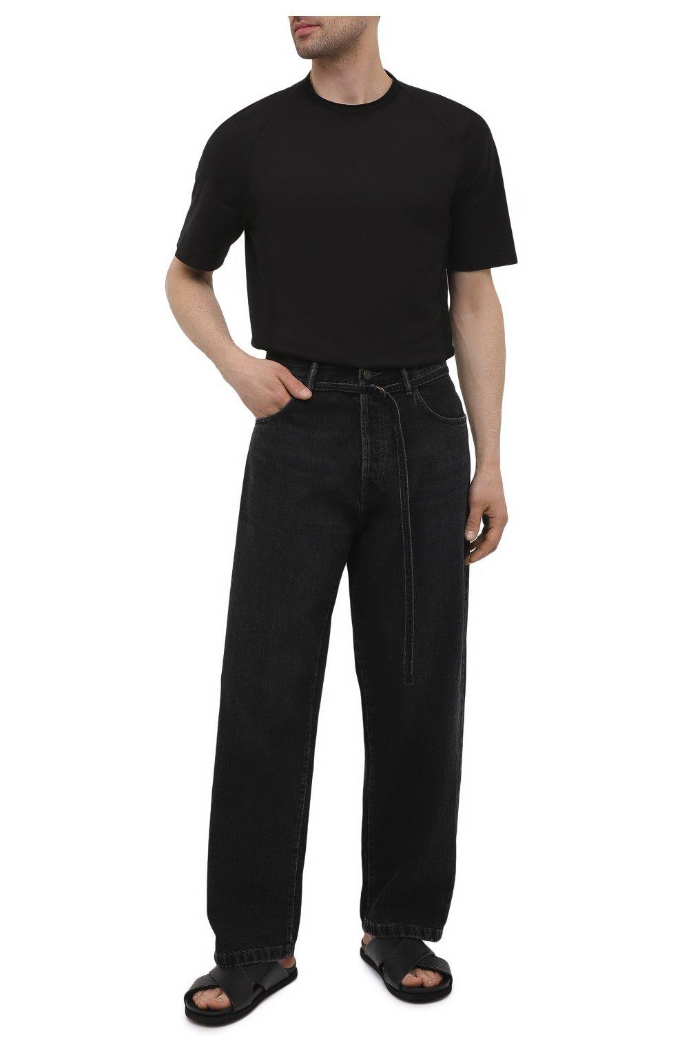 Мужские кожаные шлепанцы INUIKII черного цвета, арт. 50106-7 | Фото 2 (Материал внутренний: Натуральная кожа)