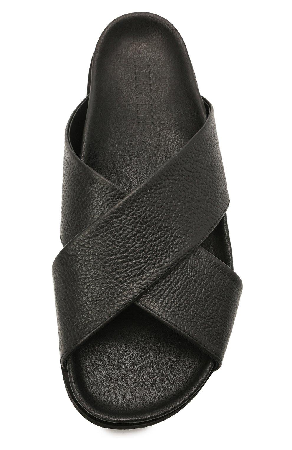 Мужские кожаные шлепанцы INUIKII черного цвета, арт. 50106-7 | Фото 5 (Материал внутренний: Натуральная кожа)