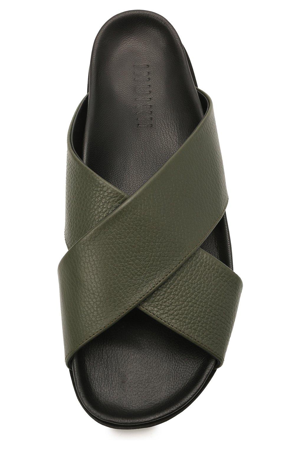 Мужские кожаные шлепанцы INUIKII хаки цвета, арт. 50106-7   Фото 5 (Материал внутренний: Натуральная кожа)