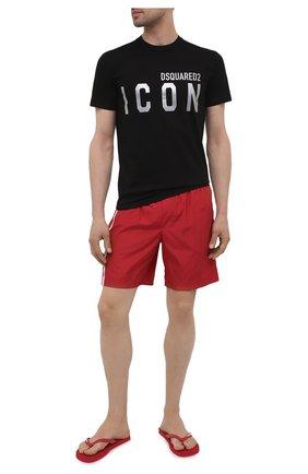 Мужские резиновые шлепанцы  DSQUARED2 красного цвета, арт. FFM0001 17200001   Фото 2